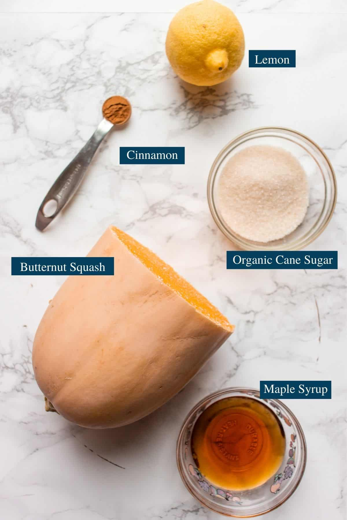 Photo of the ingredients for the candied butternut squash