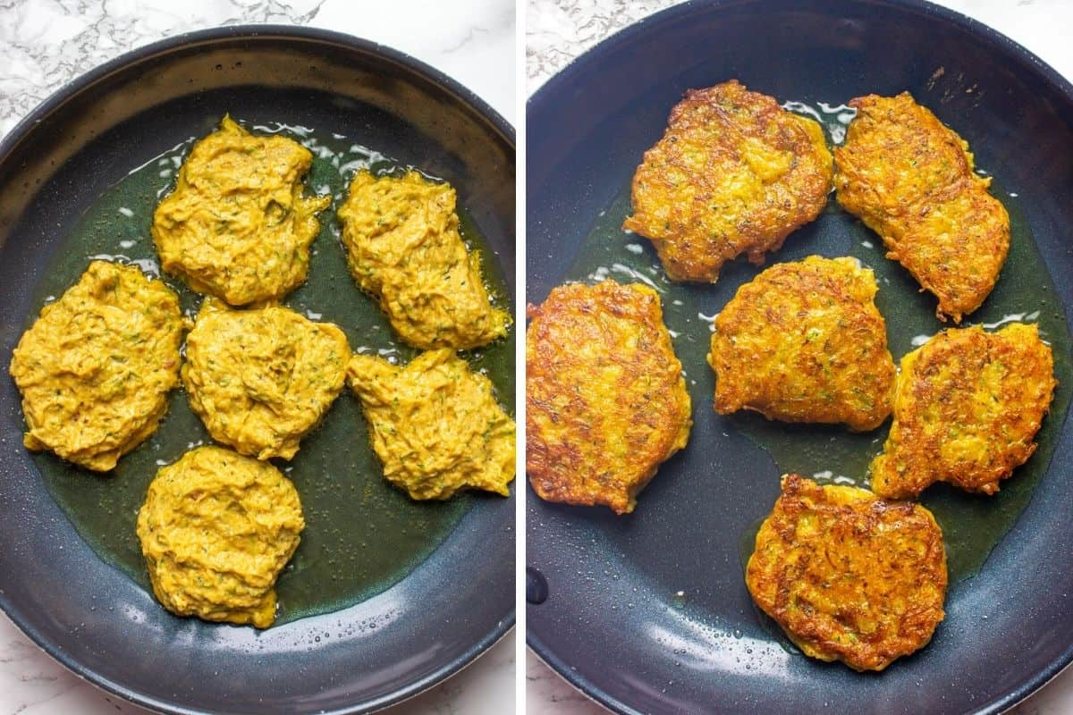 Collage of 2 photos showing how to fry pumpkin fritters