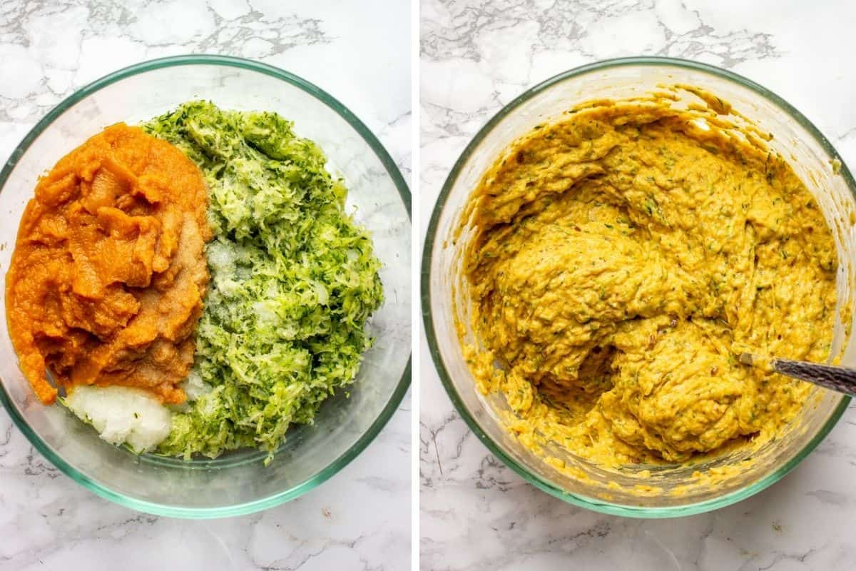 Collage of 2 photos showing how to make batter for pumpkin and zucchini fritters