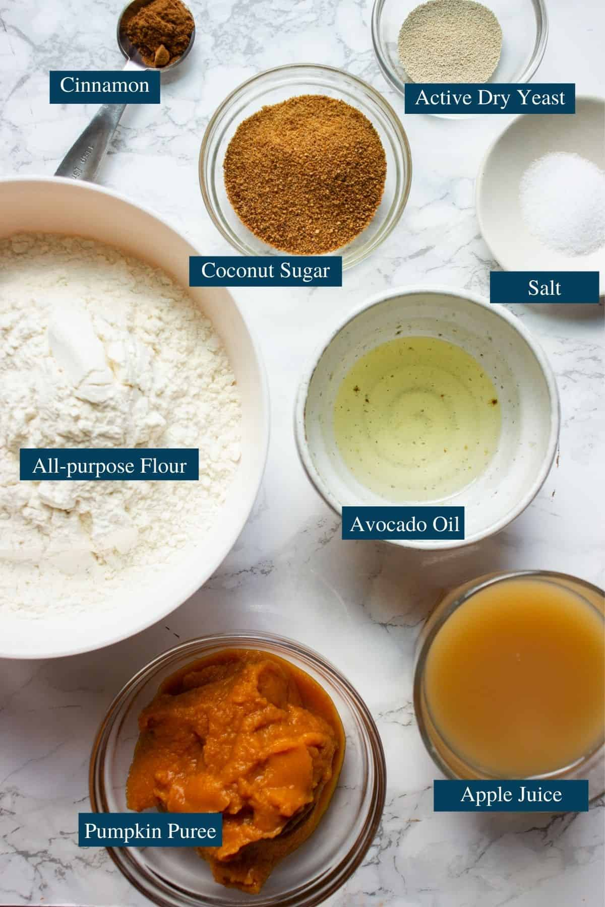 Ingredients for pumpkin pull apart loaf
