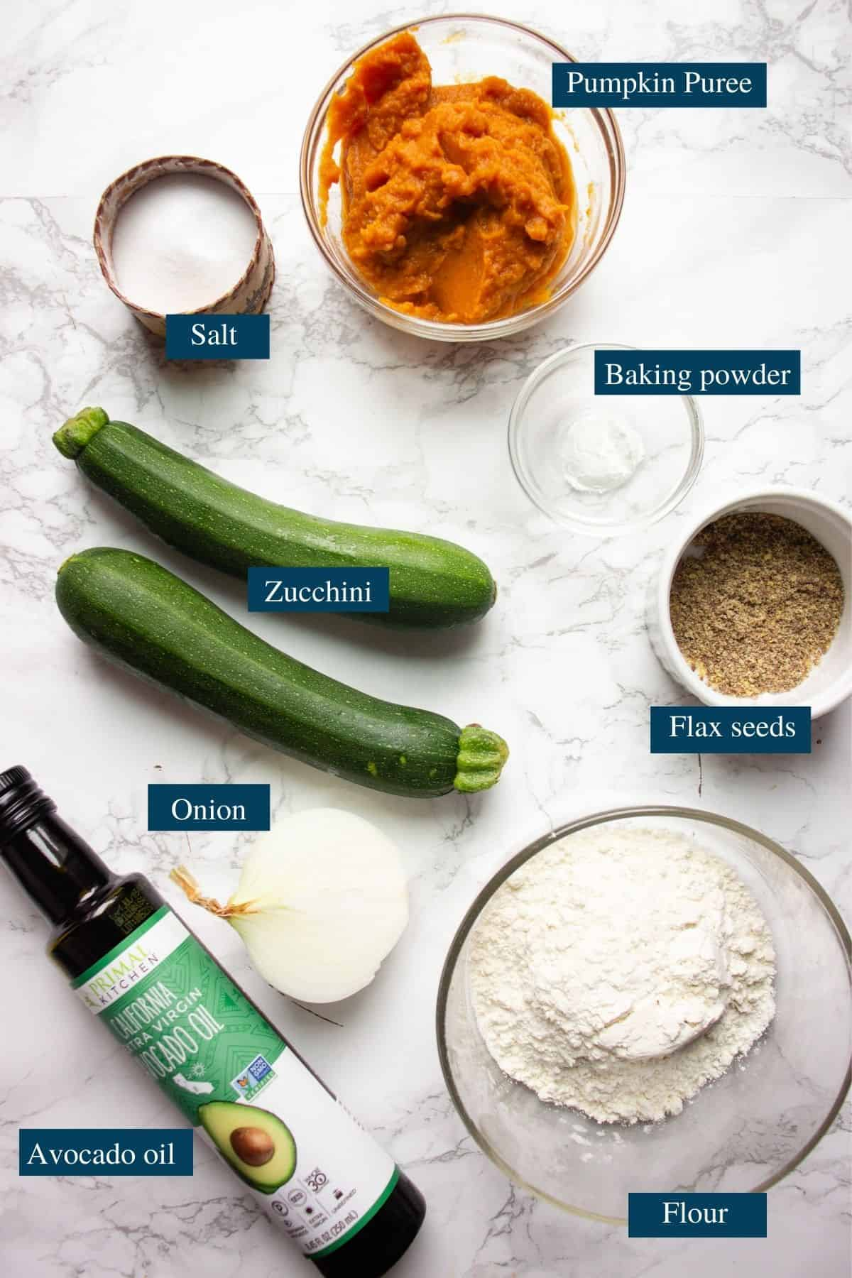 Photo of the ingredients for Pumpkin and zucchini fritters