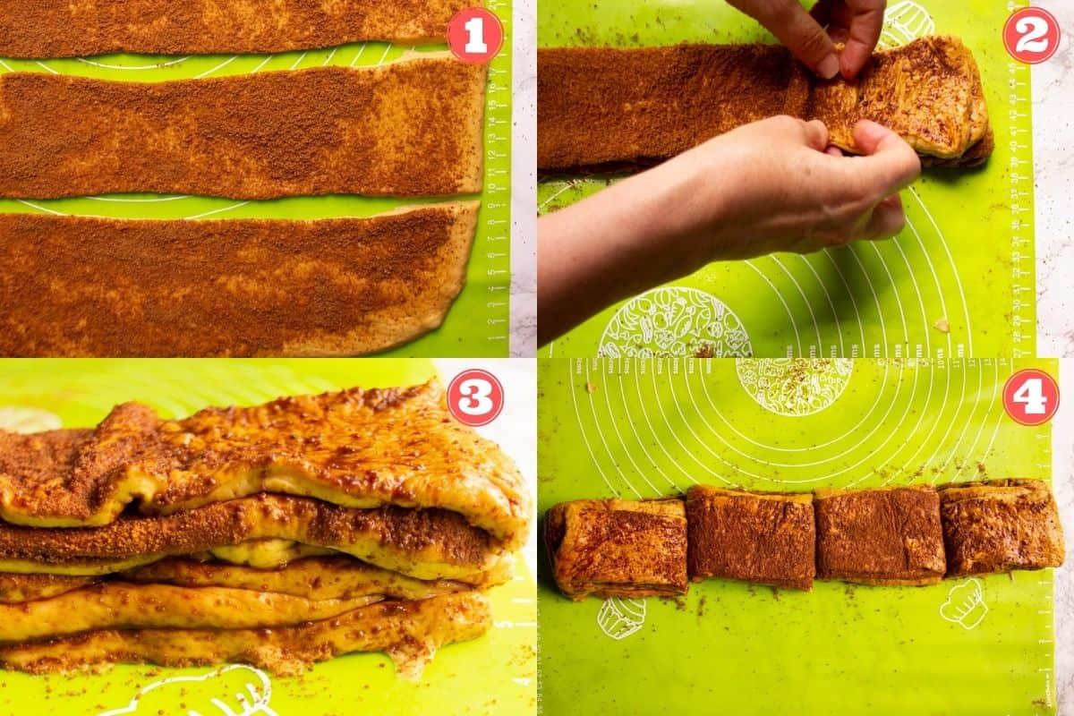 Collage photo of how to cut and stack the dough for the pull apart bread