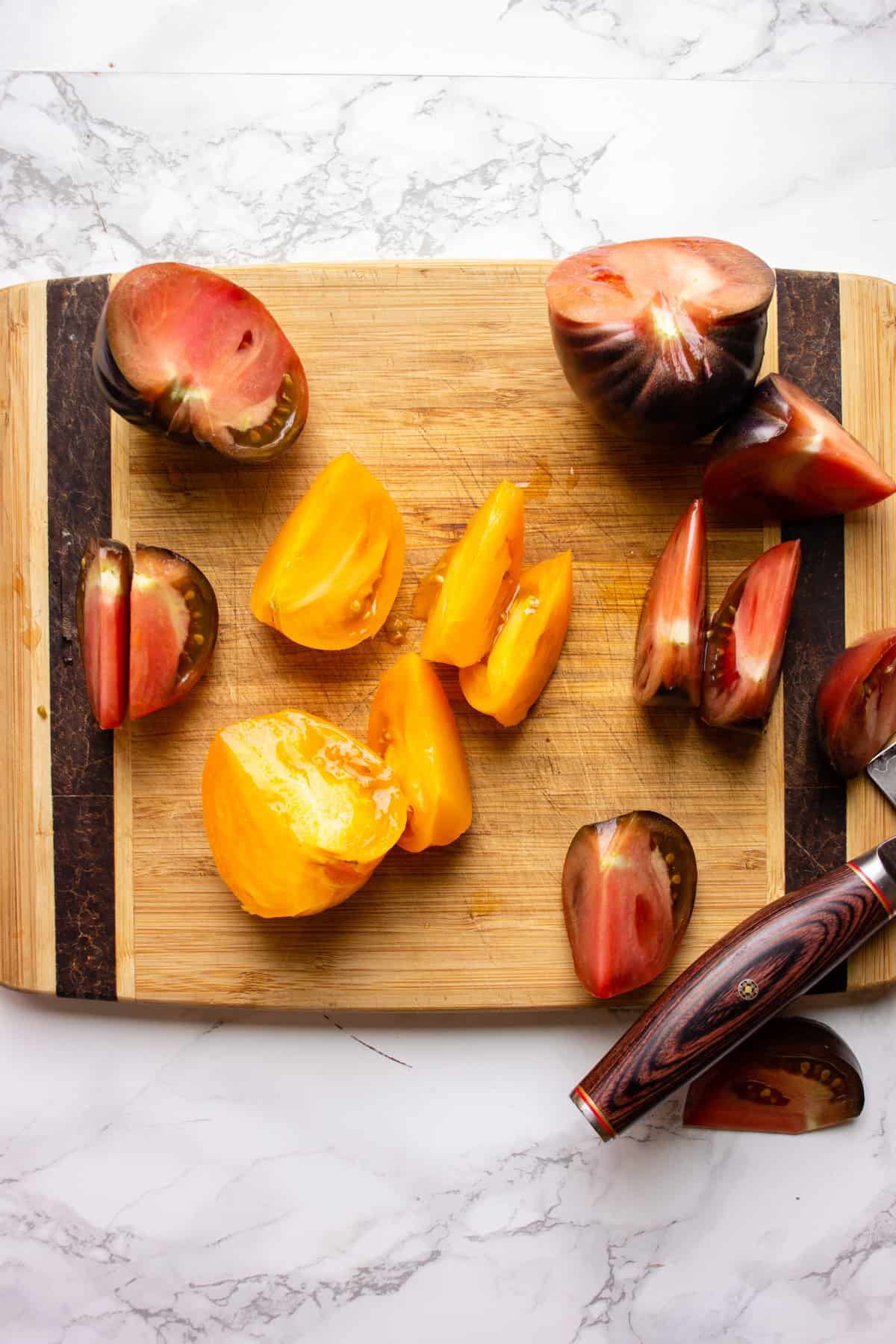 Cutting heirloom tomatoes into wedges