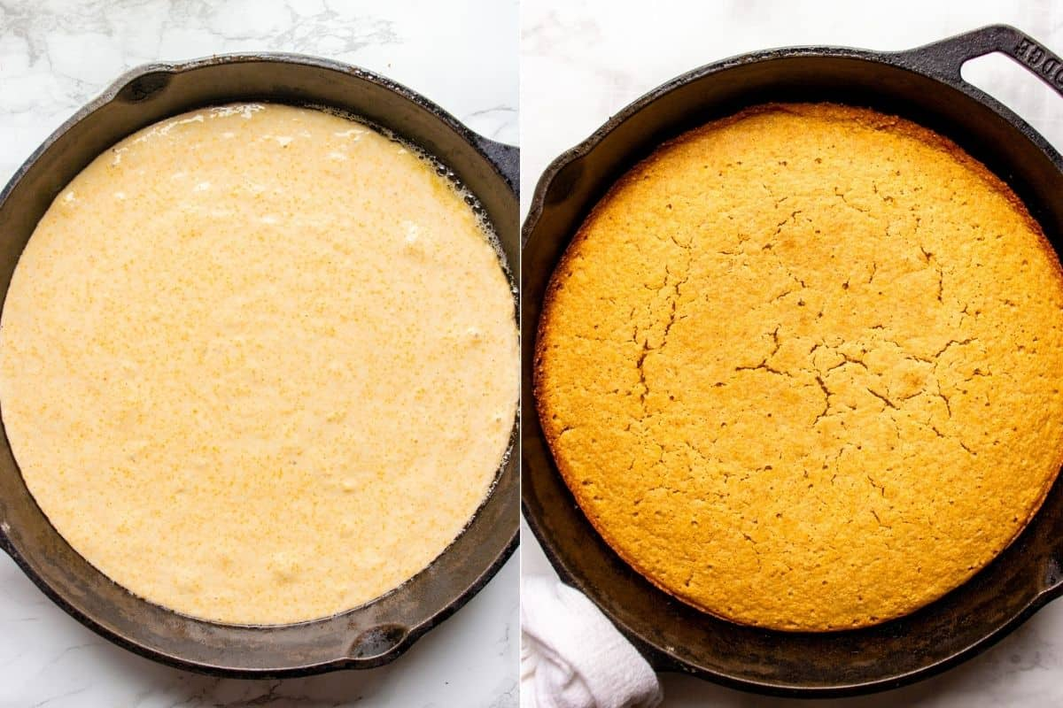 Collage images showing cornbread batter and baked cornbread in the cats iron skillet