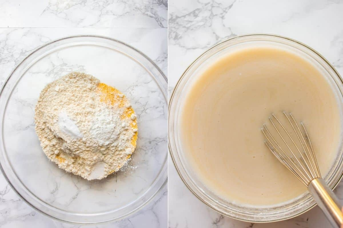 Collage of two images showing how to make batter for cornbread