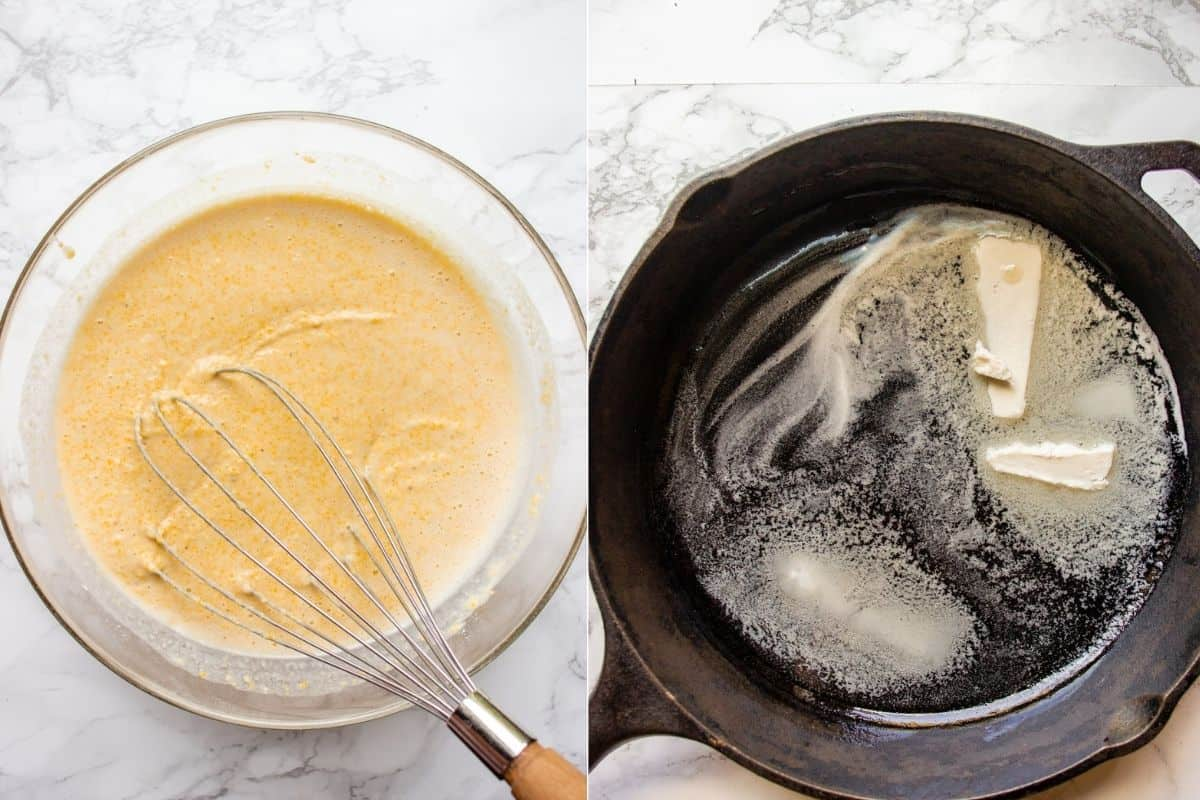 Collage of 2 images showing how to make a batter and preheat the cast iron pan