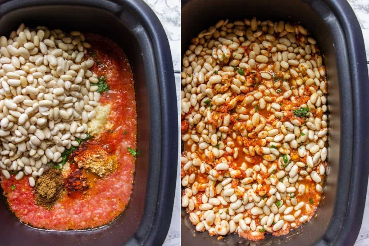 Collage photo showing how to prepare Moroccan bean stew in a slow cooker
