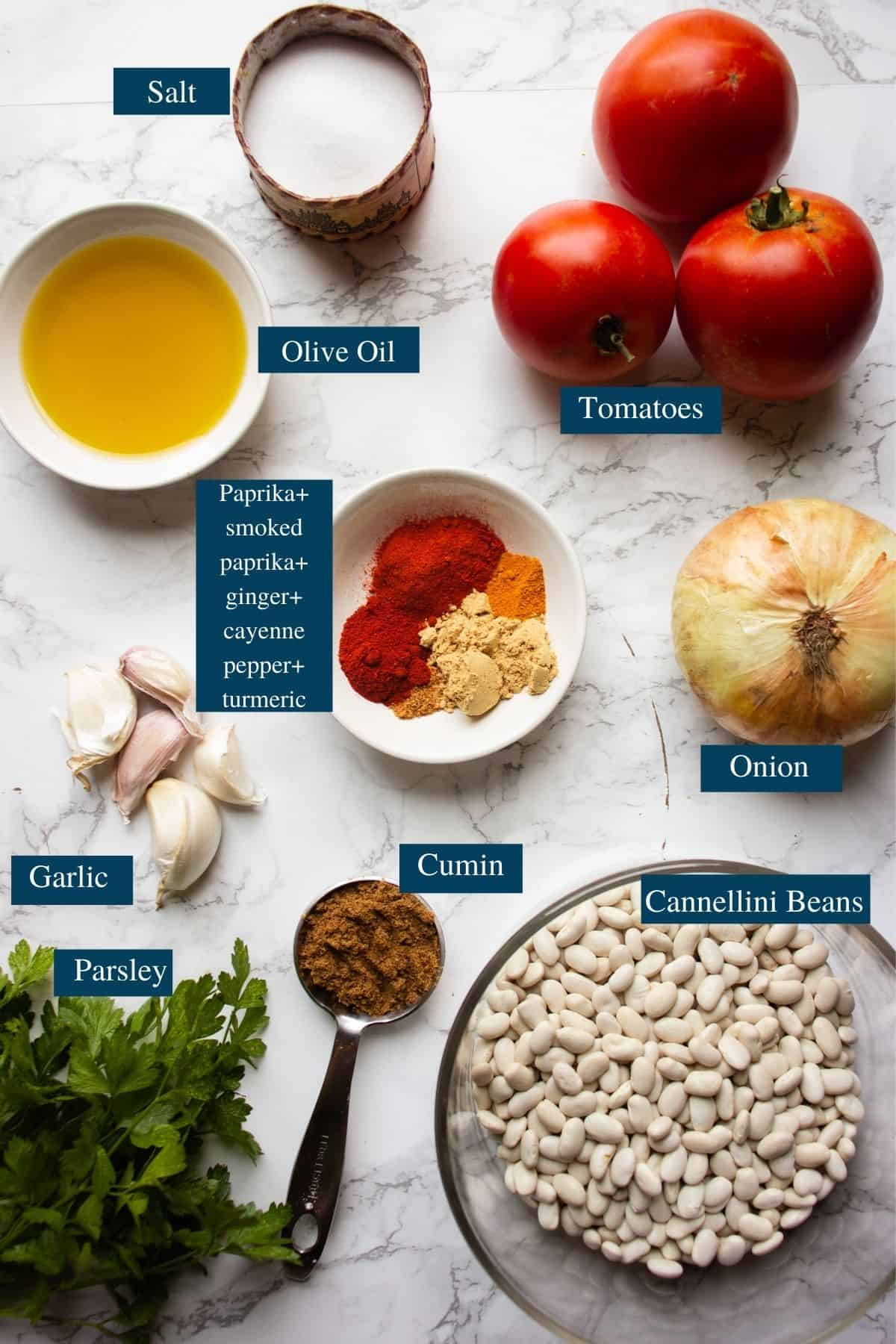 Ingredients overview of Loubia recipe