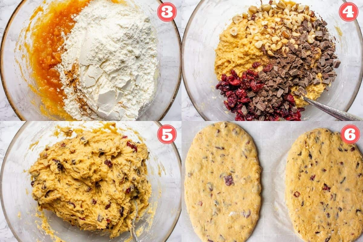 Collage of 4 images showing how to make pumpkin cranberry biscotti dough
