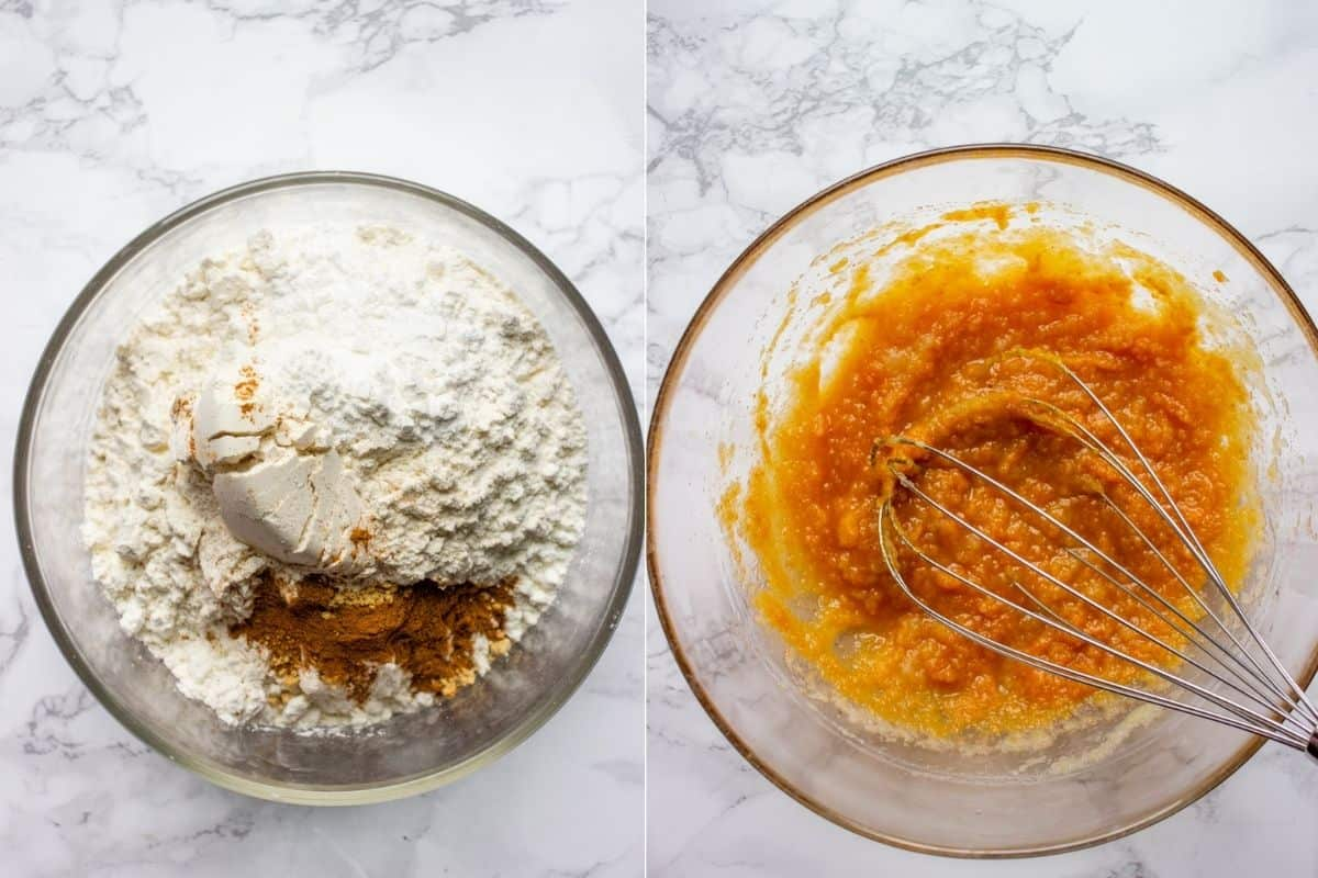Collage of two images showing two glass bowls one filled with flour and spices and another with pumpkin puree, sugar and oil