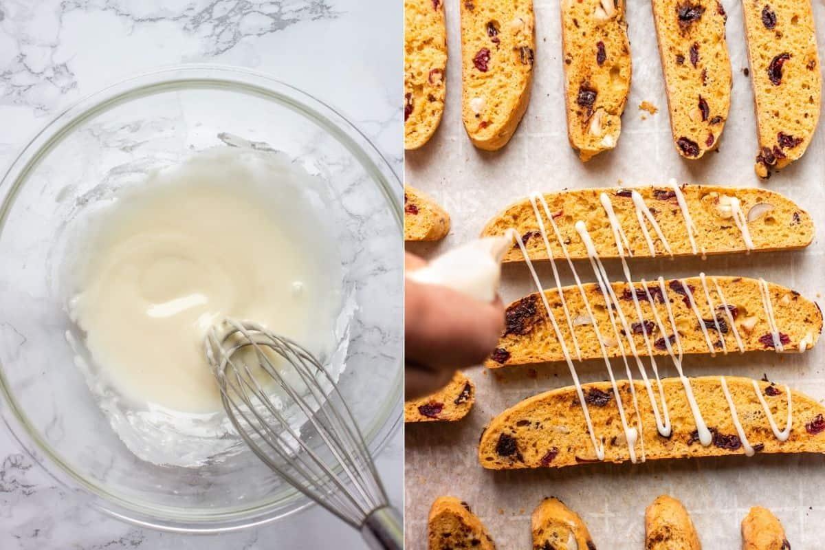 Cover biscotti with lemon sugar glaze