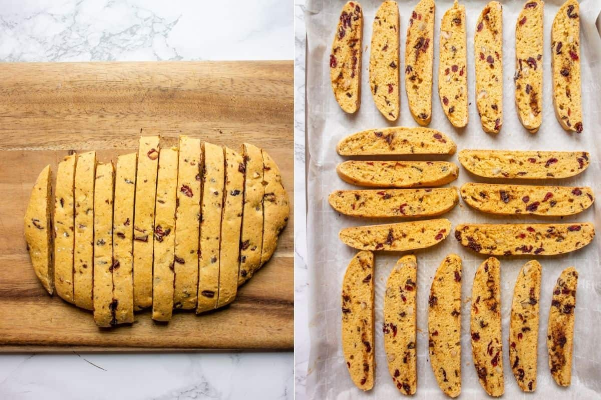 Collage image showing how to cut vegan pumpkin cranberry biscotti